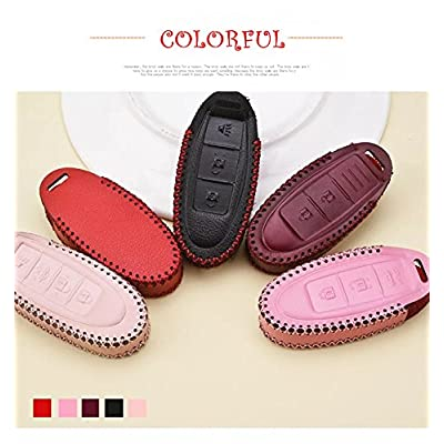 Womens Pink Genuine Leather Protective Fob Skin Cover Shell Key Jacket for Nissan Infiniti Keyless Smart Key Case Cover 4 Buttons(for G Series G25 G37 JX35 Q Series Q50 Q60S Q70L QX EX FX M): Home & Kitchen