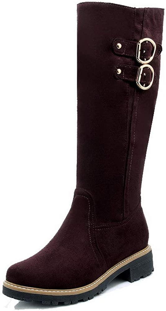 EGHXH119114 WeiPoot Womens Frosted Round-Toe Solid Low-Top Low-Heels Boots
