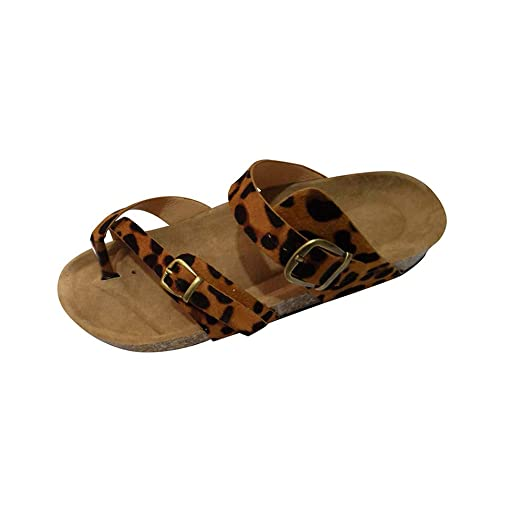 585061927e36 Amazon.com: Lurryly Retro Women's Leopard Print Flats Sandals Beach Shoes  Thick-Soled Cork Slippers: Clothing