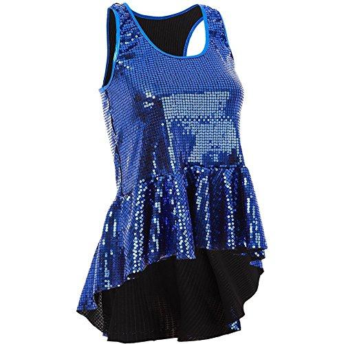 Gia-Mia Dance Big Girls' Sequin Peplum Tank Dance Jazz Costume Performance Team, Royal, L (Dance Team Performance Costumes)