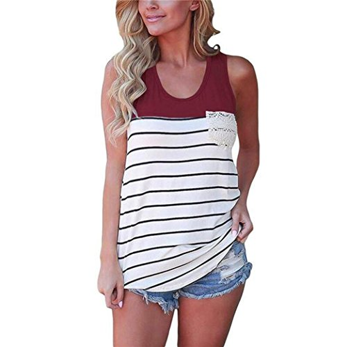 Floral Tunic Burnout Top (Perman Cheap Womens Sleeveless Casual Color Block Striped Racerback Crochet Pocket Cami Tank Tops (L, Wine Red))