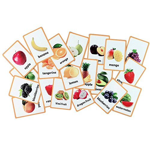 Baby Favors Educational Live Picture Cards of Fruits 21 pc. Set for Children ages Preschool Pre-K, thru Grade School for Parent, Teachers, Therapists to Help develop early English Language Skills
