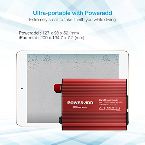 Poweradd 300W Car Power Inverter DC 12V to AC 110V Converter with Dual 3.1A Dual USB Ports for Smartphones, Tablet, Laptop, Breast pump, Nebulizer and More - Red by Poweradd (Image #5)