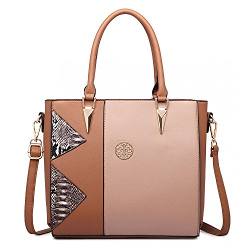 MISS LULU SPLIT FRONT SNAKE PRINT TOTE BAG BROWN AND TAN