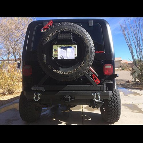 ire Carrier Swing W/D-Rings Textured Black 87-06 Jeep Wrangler YJ/TJ ()