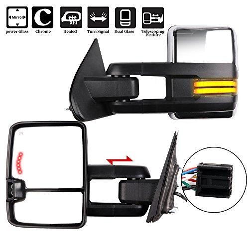 Towing Mirrors, ECCPP A Pair of Exterior Automotive Mirror fit 2014-2018 Chevy Silverado GMC Sierra with Running Reversing and Clearance Lights Power Operation Heated Arrow Signal Chrome Housing