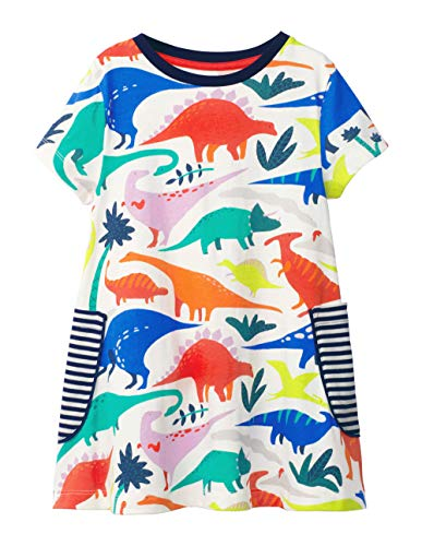 Fiream Girls Short Sleeve Summer Cotton Casual Dresses(SY030,2T/2-3YRS) ()
