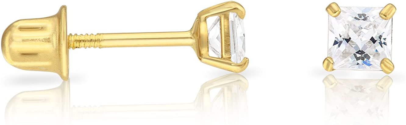 14k Gold Cubic Zirconia Princess-cut Solitaire Stud Earrings with Secure Screw-Back