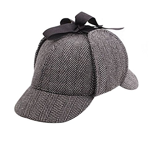 Sherlock Hat (Chong Sheng Adult Mens Holmes Hat Detective deerstalker (One Size, A))