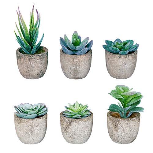 Set of 6 Artificial Succulent Plants with Pots - Realistic Greenery Flocking Mini Potted Faux Plant Arrangements | For Home Office Decor, Dorm Room, Bathroom, Kitchen Table Centerpieces