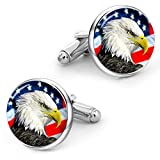 Kooer Bald Eagle Cufflinks American Flag Cuff Links Handmade Custom Personalized Wedding Cufflinks for Men Jewelry (Silver plated cufflinks -style 1)