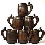 Handmade Beer Mug Set of 6 Wood Natural Stainless Steel Cup Men Gift Eco-Friendly Barrel Souvenir Round Brown