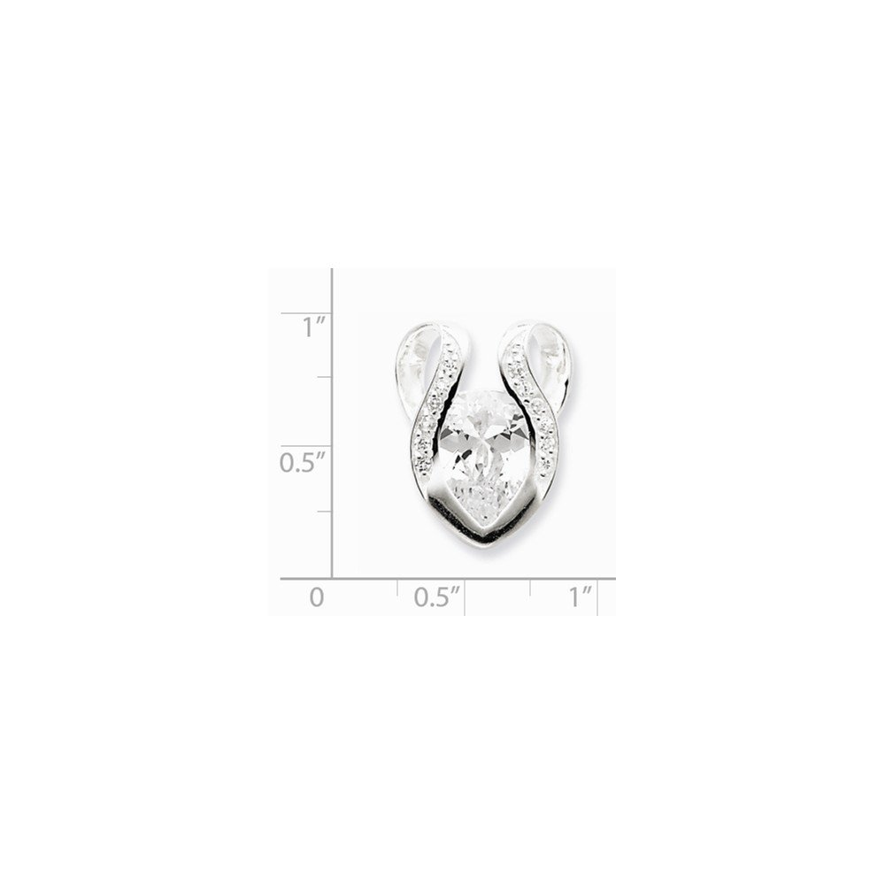 925 Sterling Silver Cubic Zirconia Slide Pendant for Necklace