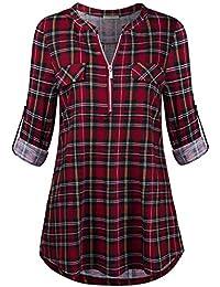 Women's 3/4 Rolled Sleeve Zipped V Neck Plaid Shirt...