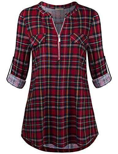 MIXJOY Baikea Red Plaid Shirt Women, Juniors Roll-Up Sleeve Zippered V Neck Casual Tunic Tops A-Line Front Pocket Cuff Button Generous Knit Elegant Blouses Checkered Black M