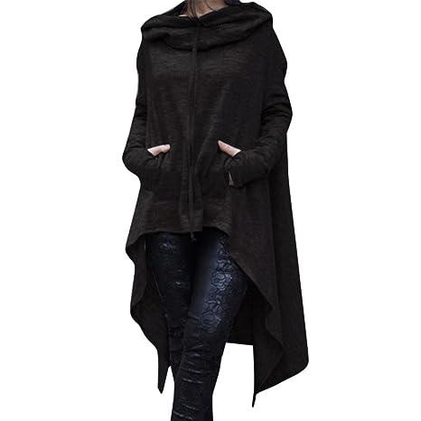 f4ab075bbb5ef Sinwo Women Autumn Loose Hoodie Long Hooded Tops Ladies Sweatshirt Plus  Size Sweater Asymmetric Blouse Coat
