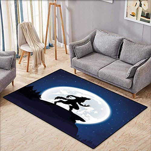 Non-Slip Rug,Wolf Full Moon Night Sky Growling Werewolf Mythical Creature in Woods Halloween,Children Crawling Bedroom Rug,3'11