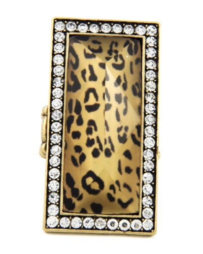 - Arras Creations Fashion Trendy Rhinestone & Clear W/brown Leopard Print Acrylic Stretch Ring For Women / AZRIFR077-APR