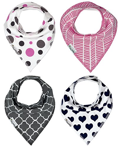 Baby Bandana Drool Bibs With Snaps 4 Pack for Girls Soft Absorbent Cotton Best Teething and Dribble Bib Modern Baby Gift Set in Pink/Grey/Navy by Luly Baby (Giggle)