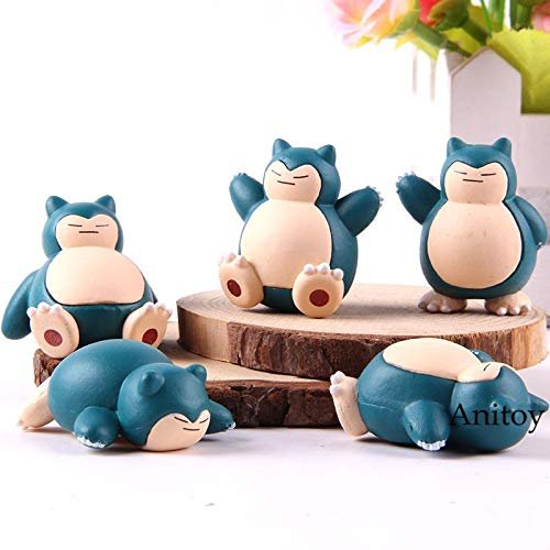5pcs/Set 4cm (1.6 inch) Cartoon Monster Snorlax Figure / Cute Mini Figure (A) ()