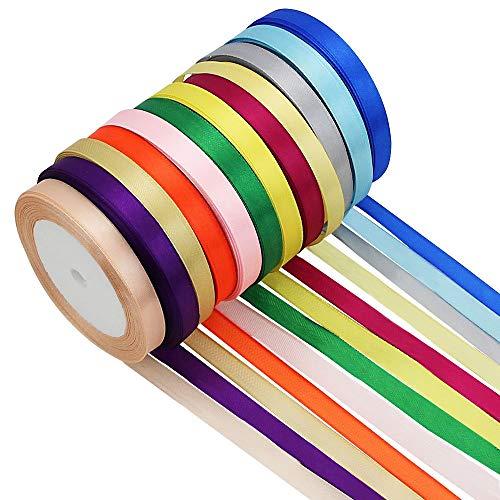 - CODIRATO Fabric Ribbon Satin Ribbon Rolls Silk Satin Roll for Bows Crafts Gifts Party Wedding - 12 Rainbow Assortment Rolls, 300 Yard