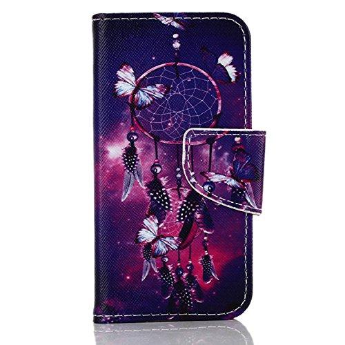 Voguecase® für Apple Iphone SE hülle, Kunstleder Tasche PU Schutzhülle Tasche Leder Brieftasche Hülle Case Cover (Lila Campanula) + Gratis Universal Eingabestift