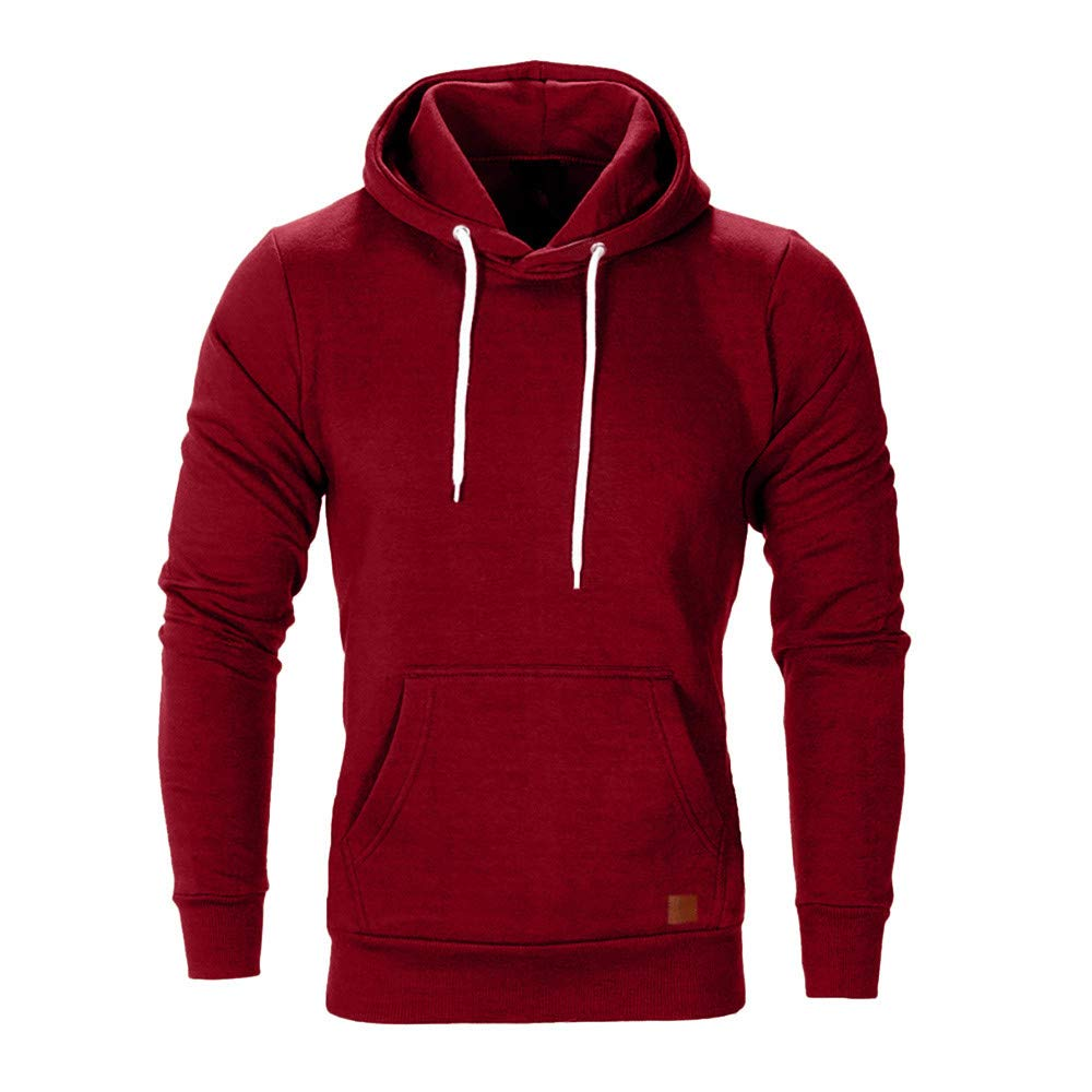 WUAI Men's Lightweight Jacket Hoodie Casual Sweatshirt Slim Fit Solid Color with Front Pocket Outwear Tops(Red,US Size M = Tag L)