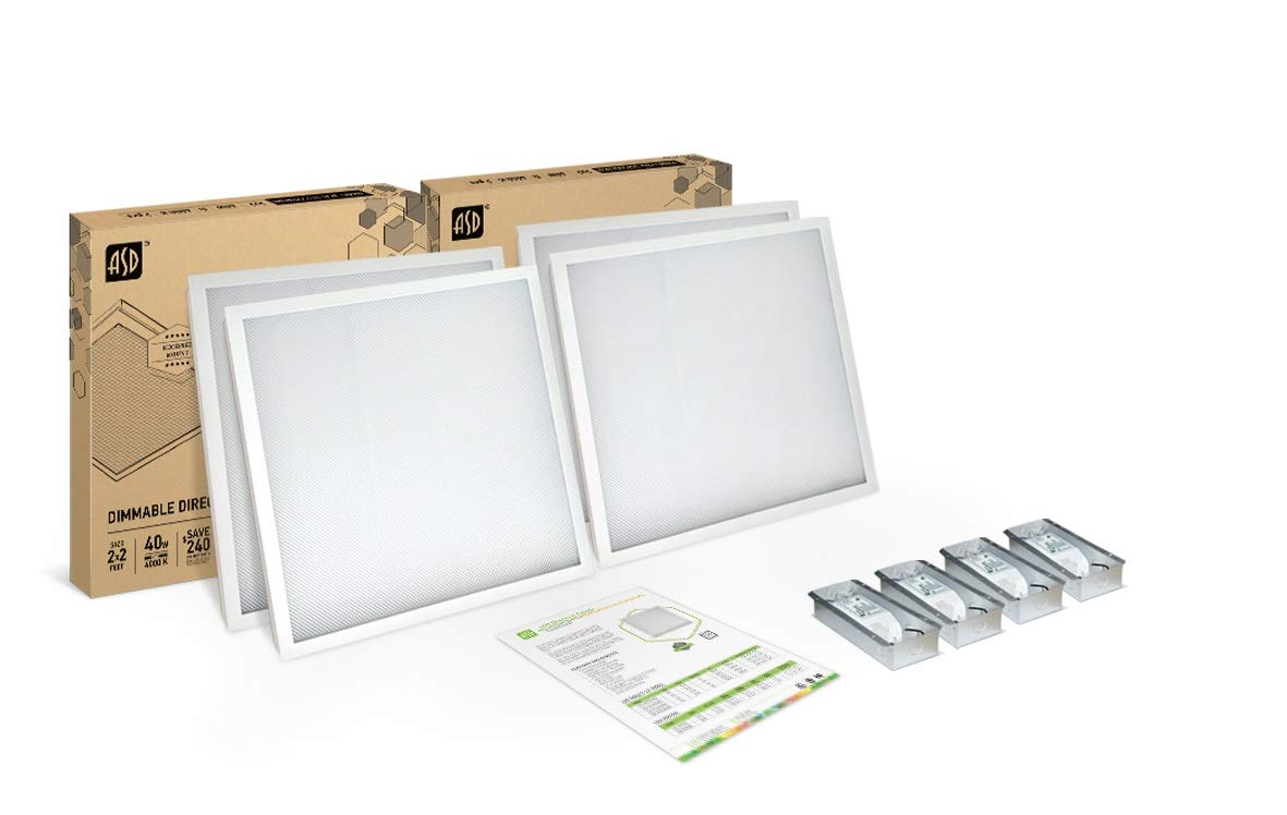 4-PACK ASD 2x2 LED Panel 40W Dimmable Direct-Lit 4000K (Bright White) Commercial Grade, UL Certified