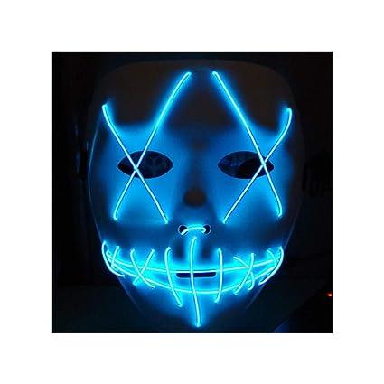 Máscara de luz LED, máscara de Halloween, disfraces de Halloween, máscara de luz