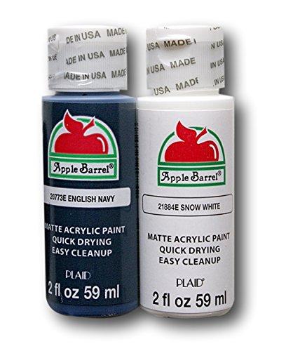 Apple Barrel Acrylic Paint Set - English Navy & Snow White (2 Ounces Each) -  Plaid Enterprises Inc, 3670