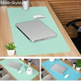 Leather Desk Mouse Pad, Desk Pad Protecter 31.5'' x 15.7'' Non-Slip Comfortable Desk Writing Mat Waterproof PU Leather Mat Dual Use Office Desk Mat (Mint&SkyBlue)