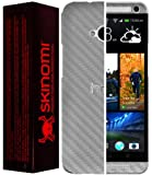 Skinomi® TechSkin - HTC One M7 Screen Protector + Carbon Fiber Silver Full Body Skin / Front & Back Premium HD Clear Film / Ultra Invisible and Anti Bubble Shield with Free Lifetime Replacement