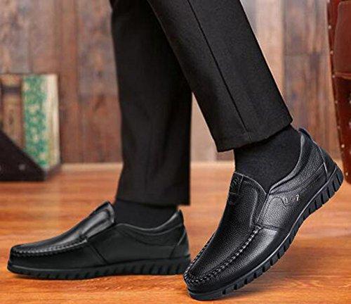 Idifu Mens Formale Tacco Basso Slip Slip On Oxfords Scarpe Con Tacchi Neri