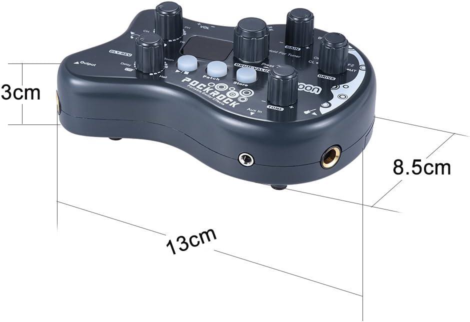 ammoon Múltiples Efecto Pedal PockRock Guitarra Portátil Procesador de Efectos 15 Tipos de Efectos 40 Ritmos del Tambor Función de Ajuste con Adaptador de Corriente: Amazon.es: Instrumentos musicales