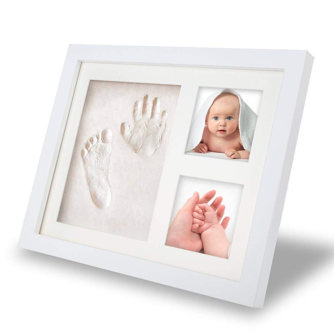 Baby Bilderrahmen Fotoalbum,Tatuer Baby Deko Holzbilderrahmen f/ür Handabdruck und Fussabdruck Weihnachtsgeschenke f/ür Neugeborene,Babyparty Taufe Mit Geschenk Box Ungiftiger Ton