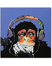 Fokenzary - Cuadro 100% pintado a mano, pintura al óleo sobre lienzo, Gorila escuchando música con auriculares, con marco listo para colgar, lona, 24x24in