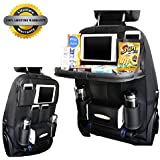 Car Back Seat Organizer, Foldable Car Dining Table with Tablet Holder Pocket Multi-Pockets Back Seat Protector for Baby Kids and Car Tidy Kids(Black,1PC)