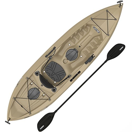 (Lifetime Muskie Angler Sit-On-Top Kayak with Paddle, Tan, 120