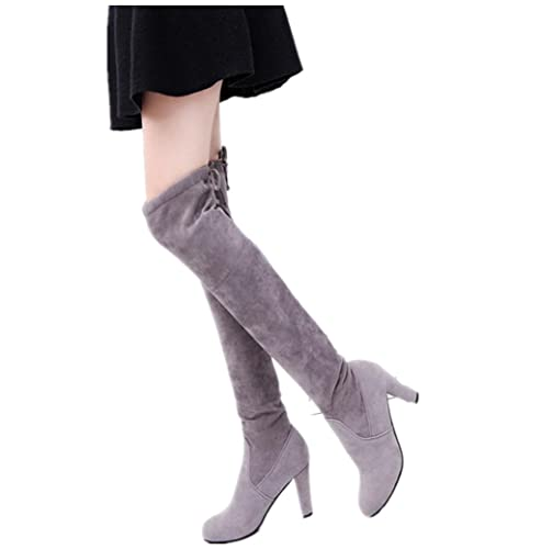 43ad455d272 Kinghard Women Thigh High Over The Knee Boots Chunky Heels Shoes Combat  Style Comfy Vegan Suede Heel Long Boots Drawstring Party Stretch Block Boots  for ...