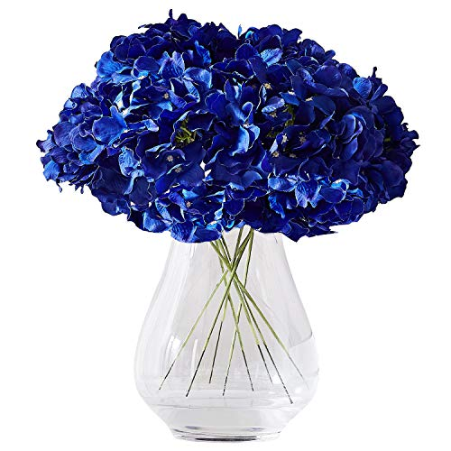 Kislohum Hydrangea Silk Flower Heads 10 Navy Blue Artificial Hydrangea Silk Flowers Head for Wedding Centerpieces Bouquets DIY Floral Decor Home Decoration with Long Stems