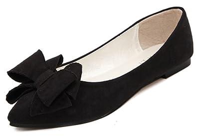 38f801820 IDIFU Women's Dressy Bow Pointed Toe Slip On Flats Shoes Pumps Wide Width  Black 4 B