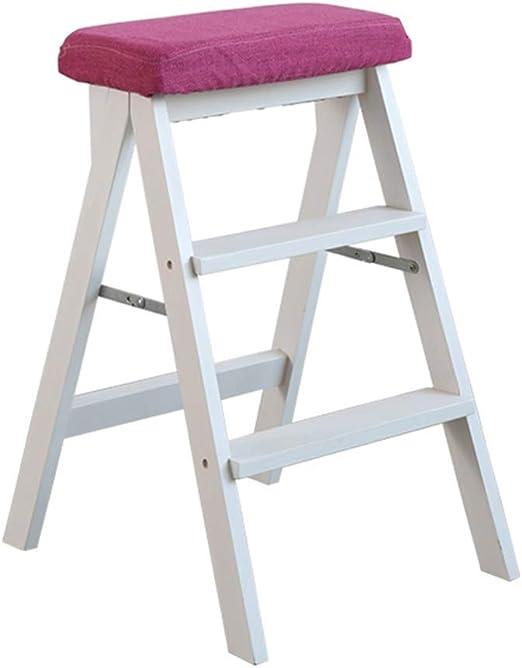 QQXX Taburete de Escalera Taburete de Escalera de Doble Uso Biblioteca de casa Antideslizante Plegable de Madera 3 escalones Almohadilla Lavable de 150 kg de Capacidad (Almohadilla roja Pata Blanca)-: Amazon.es: Hogar