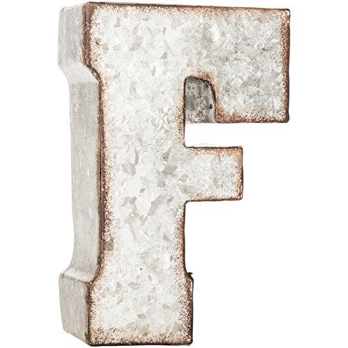 Galvanized Metal 3D Letter F