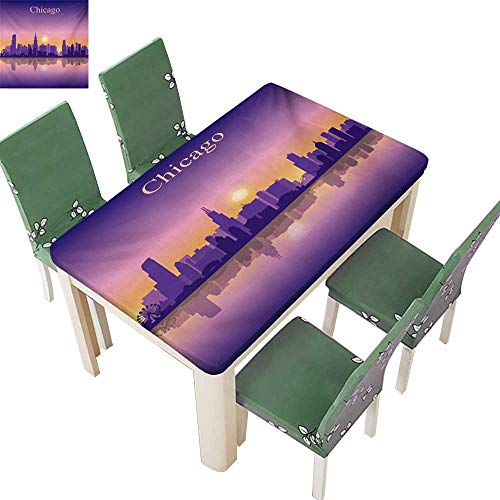 (Youdeem-tablecloth Polyester Cloth Fabric Cover,Sunset in Illinois American Horizon Behind High City Silhouettes Washable Great for Parties,61W X 100L Inches(Elastic)