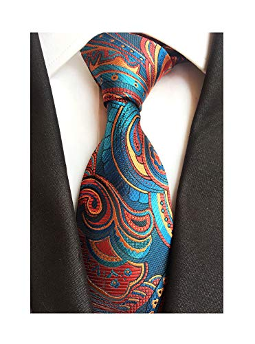 Men's Cyan Red Orange Tie Yellow Spring Party Wedding Woven Silk Paisley Necktie