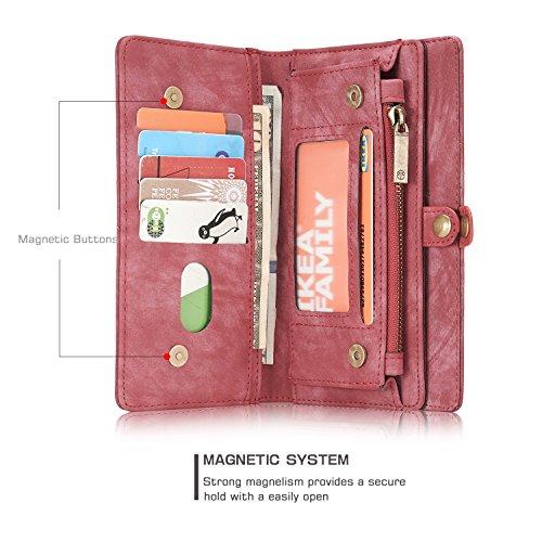 SRY-Funda Estuche para cartera Samsung Galaxy S8 de Caseme, cubierta desmontable y magnética para teléfono Moda y personalidad ( Color : Coffe ) Red