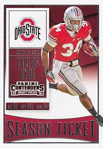 9062567962d Amazon.com  2016 Contenders Draft Picks Football Season Ticket  19 Carlos  Hyde Ohio State Buckeyes Official NCAA Trading Card made by Panini   Collectibles ...