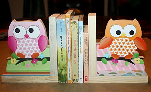 Owls Love Birdies Girls Nature Kids Bedroom Baby Nursery Wood Bookends BE0002