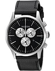 Nixon Mens Sentry Chrono Quartz Metal and Leather Watch, Color:Black (Model: A405000-00)