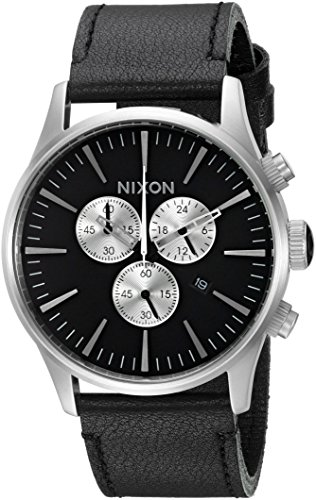 Nixon-Mens-Sentry-Stainless-Steel-Chronograph-Watch-with-Leather-Band